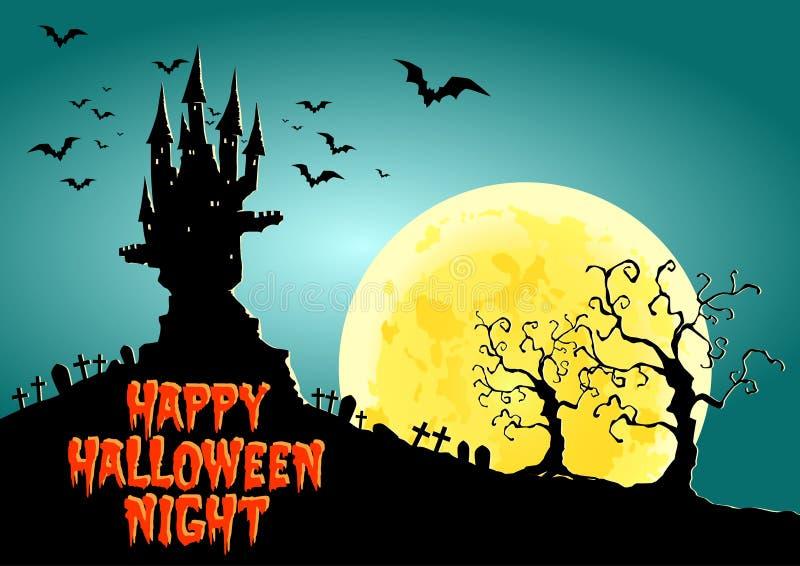 Happy Halloween, Haunted Castle at full moon night, illustration. Lot of bats frying around the castle at full moon night royalty free illustration