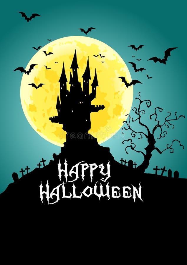 Happy Halloween, Haunted Castle at full moon night, illustration. Lot of bats frying around the castle at full moon night vector illustration