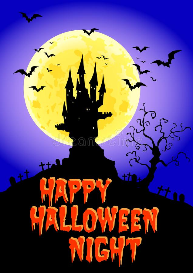 Happy Halloween, Haunted Castle at full moon night, vector illustration. Lot of bats frying around the castle at full moon night stock illustration