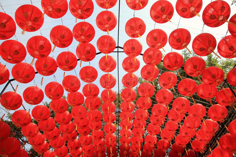 A lot of beautiful red chinese lanterns. stock image