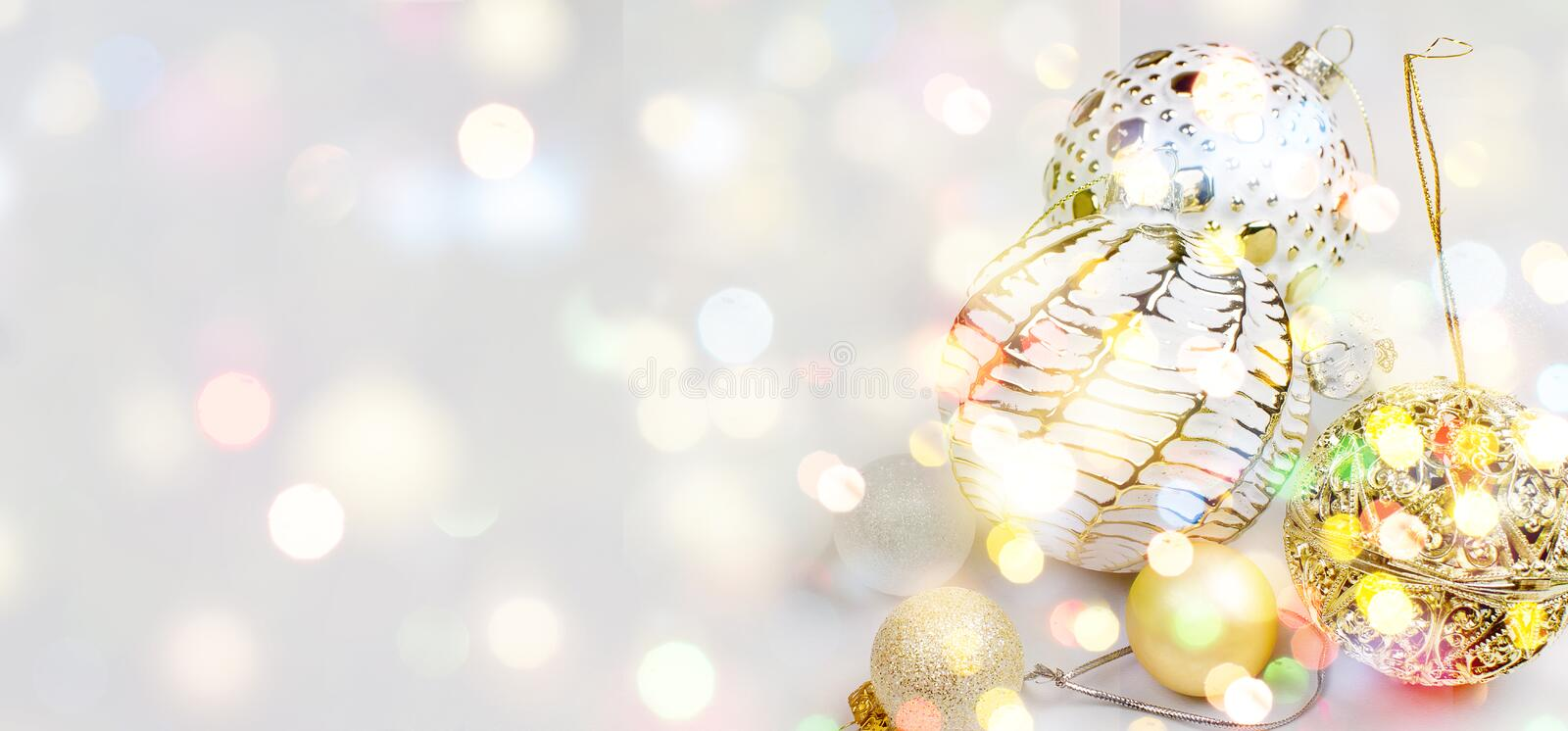 Elegant Christmas background with gold and white evening balls stock image