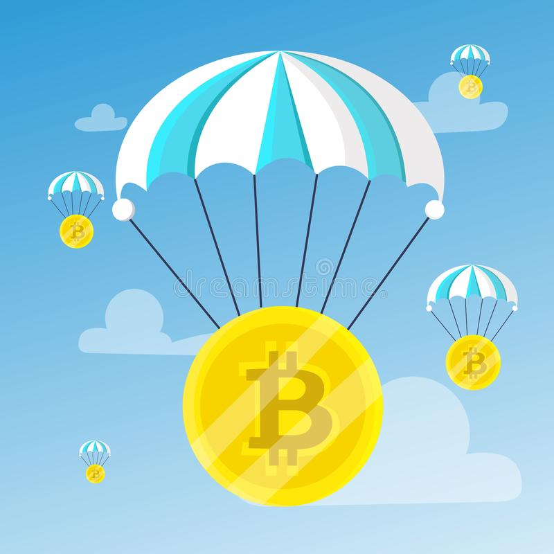 A lot of bitcoins descends. With a blue-white striped parachute on the background of the sky with clouds. Blocchein, cryptography, technology, business. Modern stock illustration