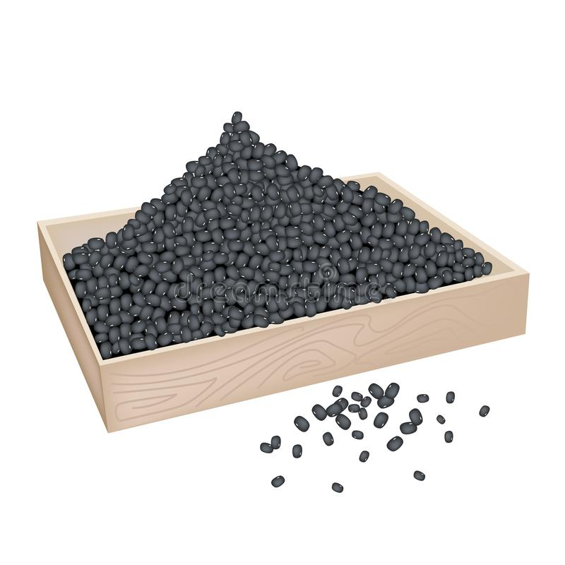 A Lot of Black Beans in Wooden Container. An Illustration Heap Of Black Dried Beans in Wooden Box Isolated on White Background stock illustration