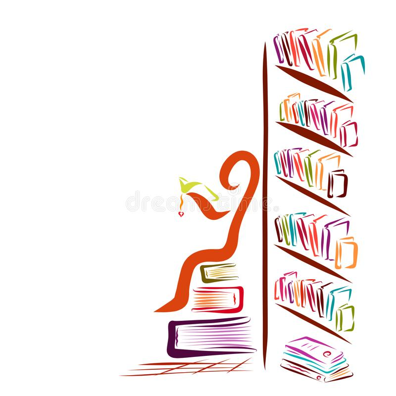 A lot of books and an abstract man reading a book vector illustration