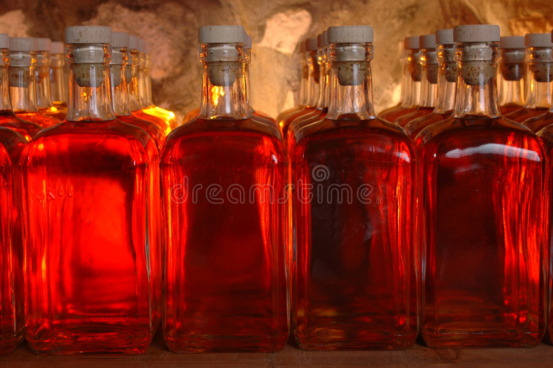 Lot of bottles with alcohol