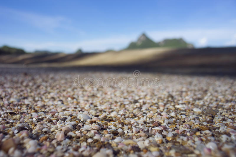 A lot of broken small corals, scrap of sea shell on the sand on foreground and blurred blue sky and mountain in background royalty free stock image