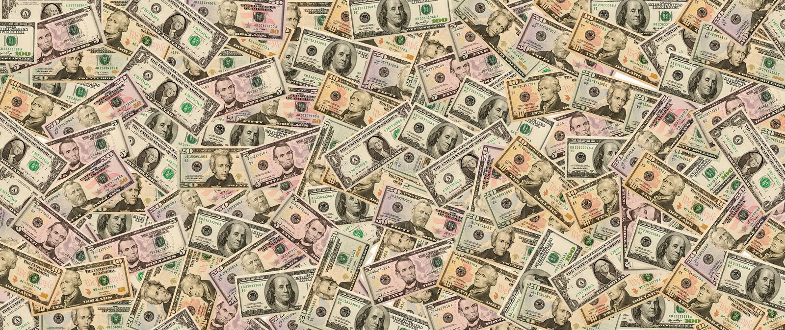 Lot of cash US dollars in the background. royalty free illustration