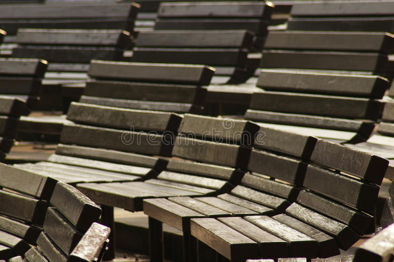 Lot of chairs in the park. For background royalty free stock photography