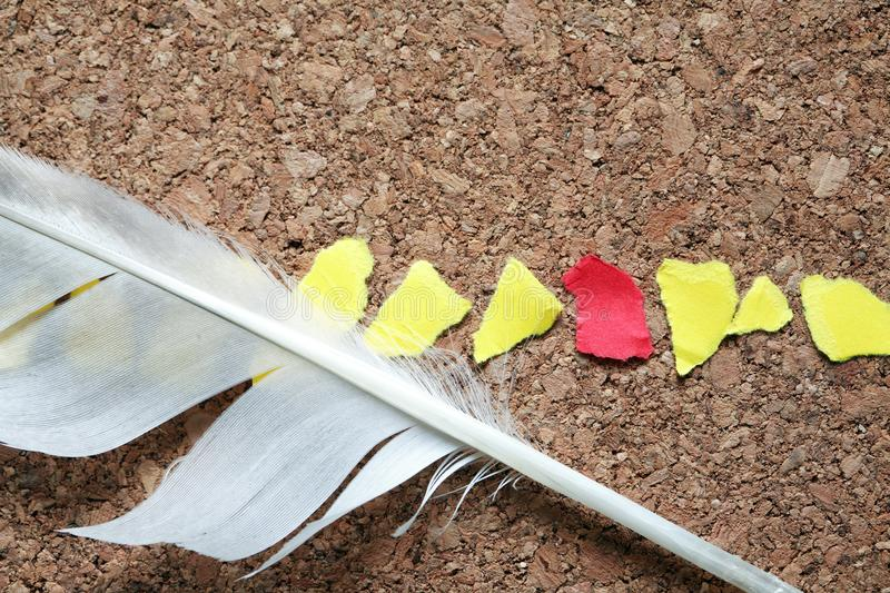 Feather And Paper Scraps royalty free stock photography