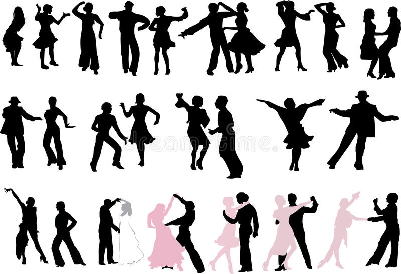 A lot of dancer silhouettes royalty free illustration