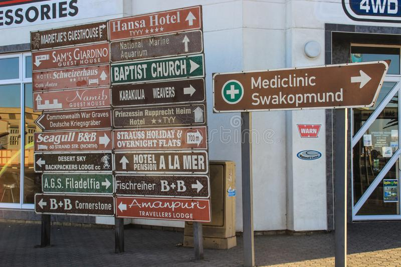 A lot of different direction signs stock photos
