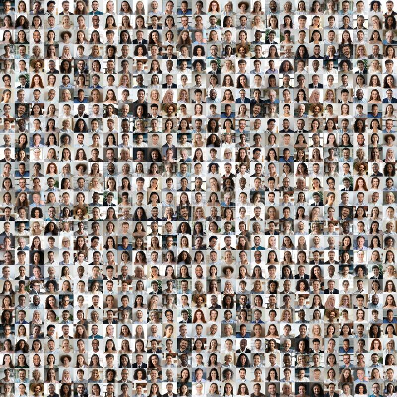 Lot of different multiracial people faces in square collage mosaic. Lot of different multiracial people headshots portraits in square collage mosaic image. Many stock photo