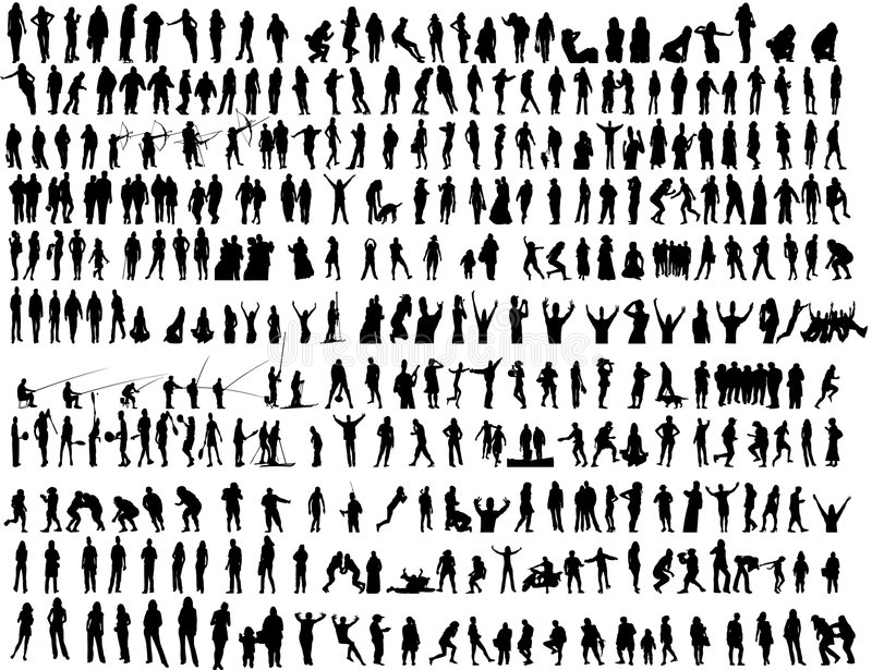 Lot of different people in action vector stock photo