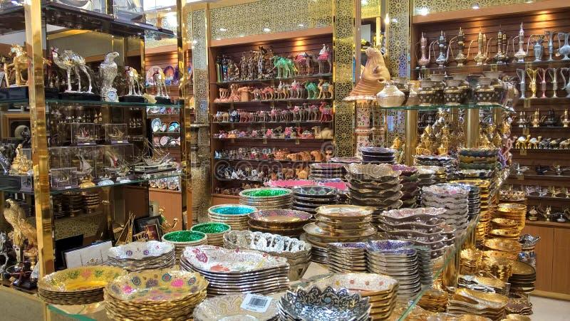 Souvenir shop in Dubai royalty free stock photography
