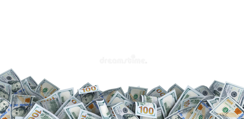 Lot of 100 dollar bills stock photos