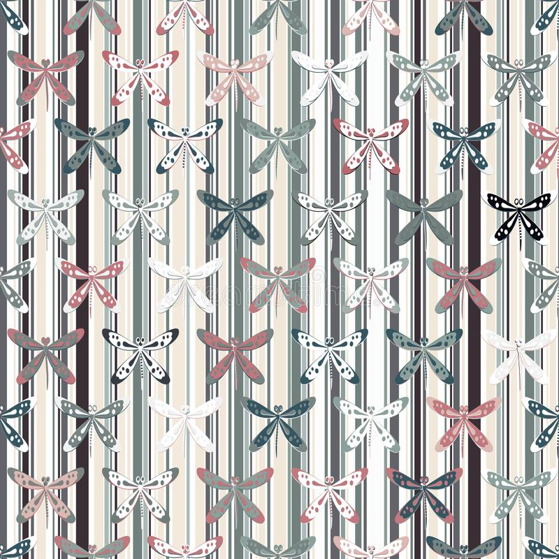 A lot of dragonflies scattered along a vertical trellis royalty free illustration