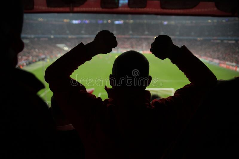 Lot of fans soccer match royalty free stock photos