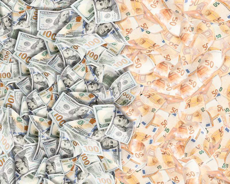 A lot of fifty euros and dollars background stock illustration