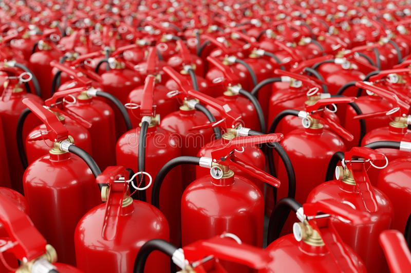 A lot of fire extinguishers. Concept of protection and security. Many fire extinguishers royalty free stock photography