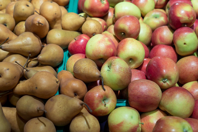 A lot of fruits like apples and pears stock image