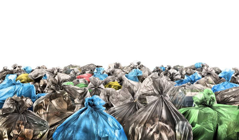 A lot of garbage bags. On a white background stock photos