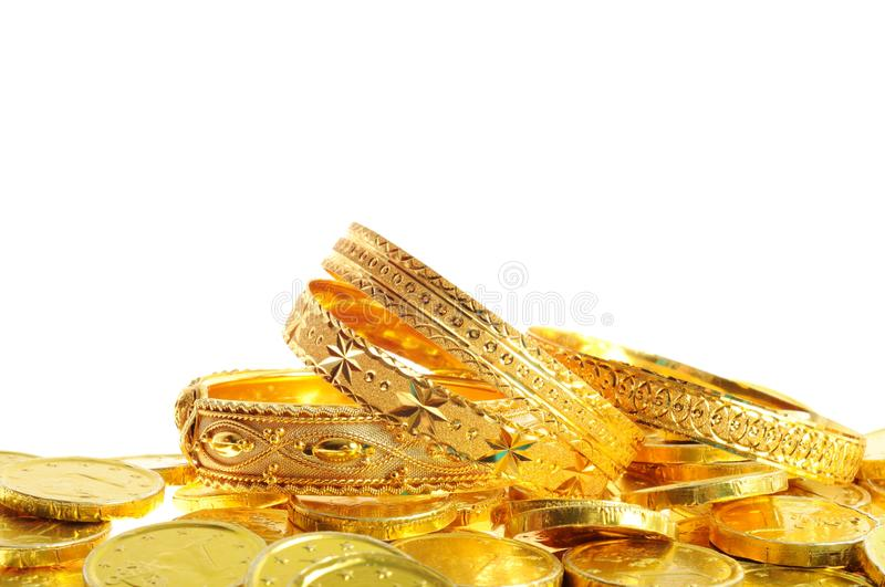 Lot of gold coins stock image