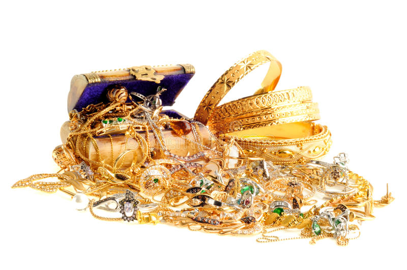 Lot of gold jewelry royalty free stock photography