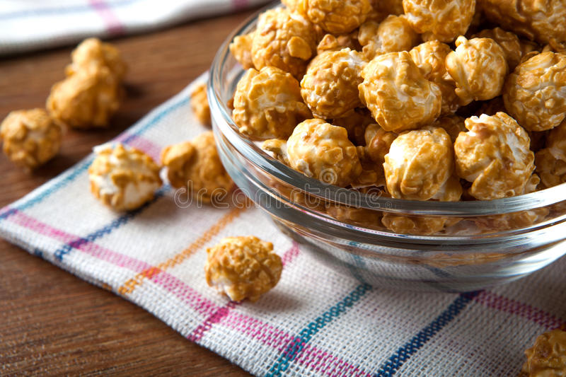 A lot of golden caramel corn. Close up stock photography