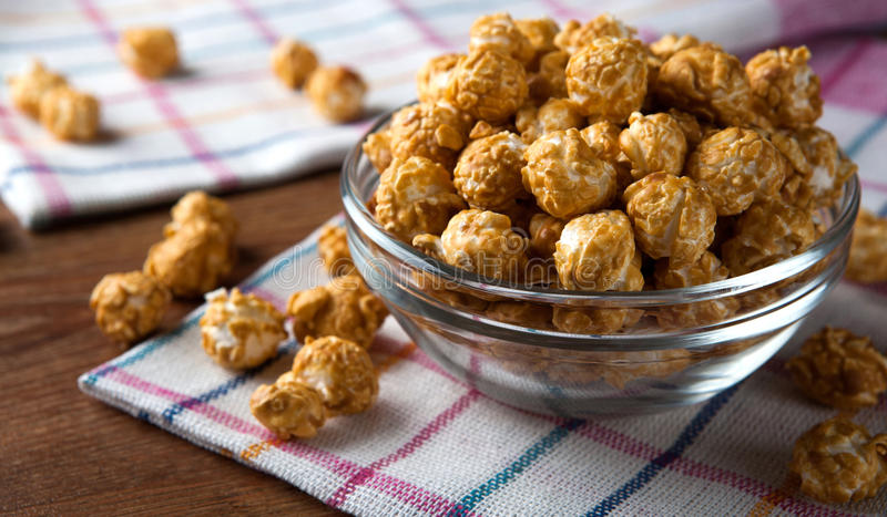 A lot of golden caramel corn. Close up stock photo