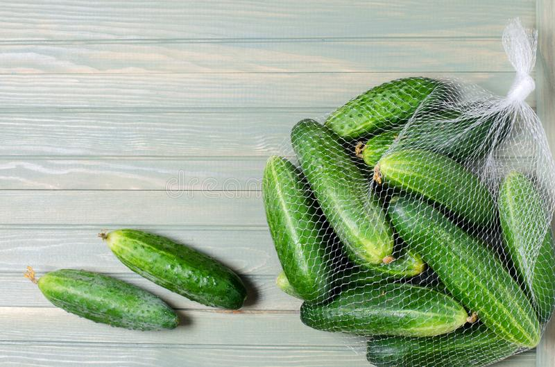 A lot of green cucumbers in net bag. Light wooden background. Space for text. Flat top view.  stock images