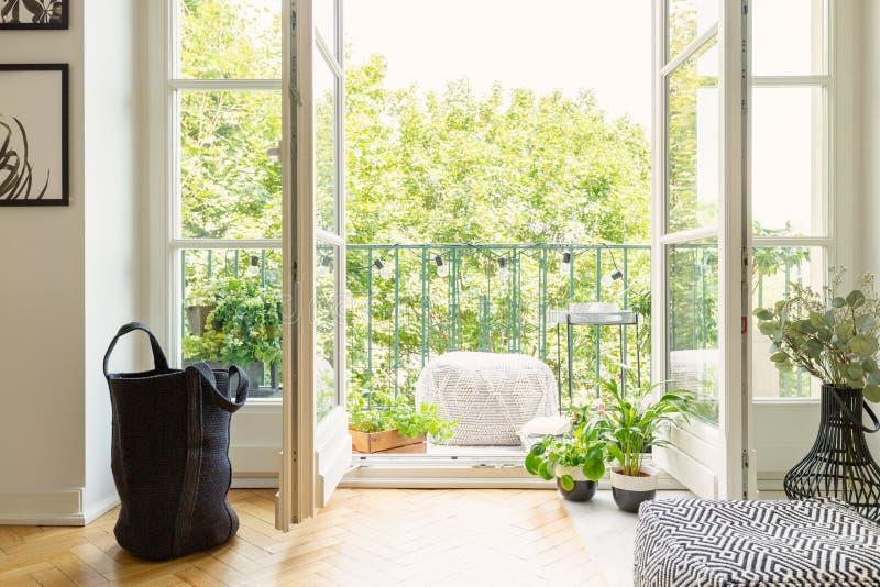Lot of green plants and open balcony door stock photography