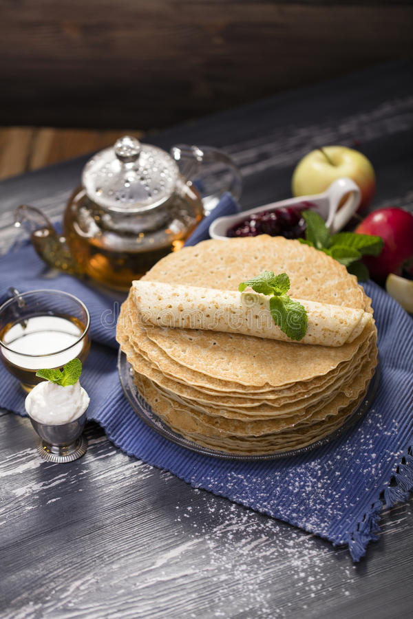A lot of homemade crepes royalty free stock image