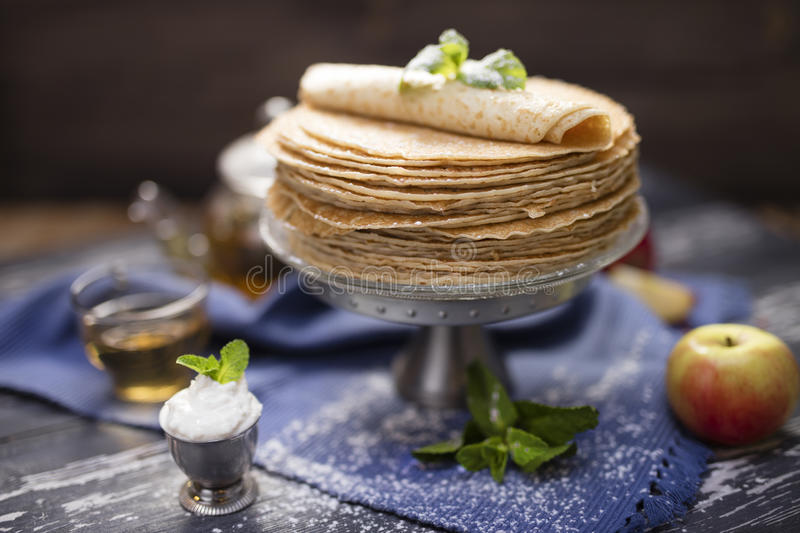 A lot of homemade crepes royalty free stock images