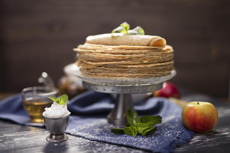 A lot of homemade crepes stock image