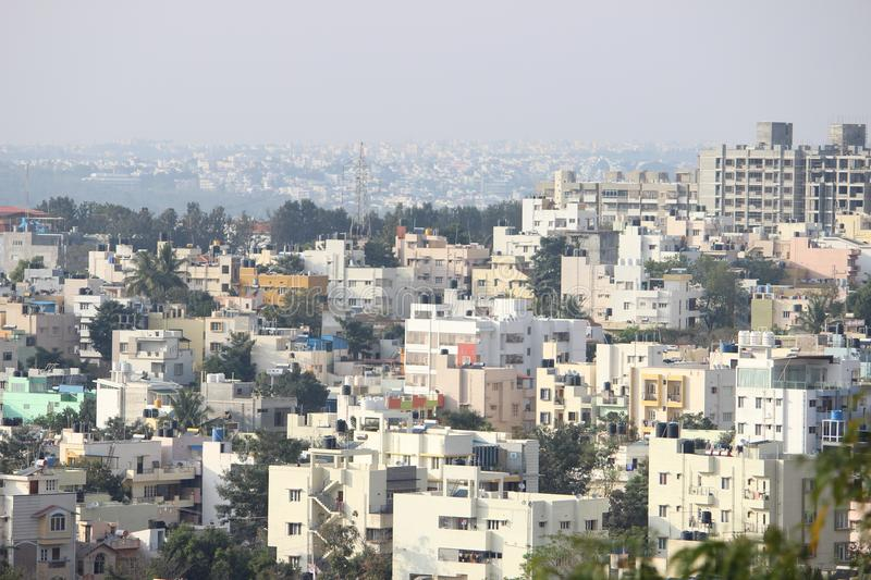 Perspective view of Banglore city. Lot of house and apartments in bangalore city india stock photography