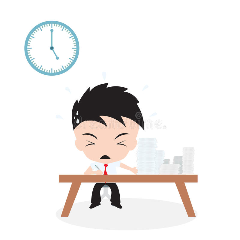 Lot of Jobs to do and businessman working with rush time, on white background, Vector illustration in flat design royalty free illustration