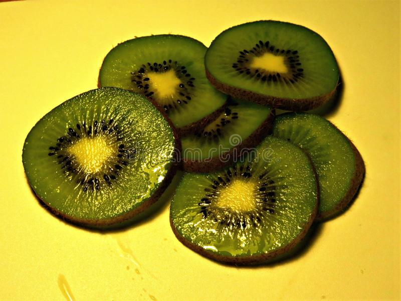 A lot of kiwi slices. Ready for eat stock photo