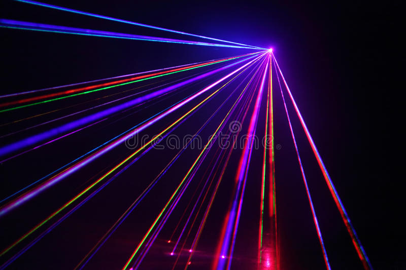 Lot Of Laser Beams In Dark At Disco. Royalty Free Stock Photography