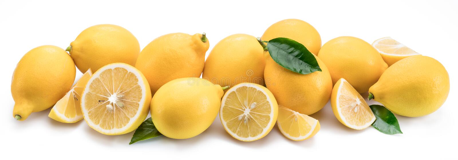 Lot of lemon fruits with lemon leaf isolated. Horizontal photo. stock image