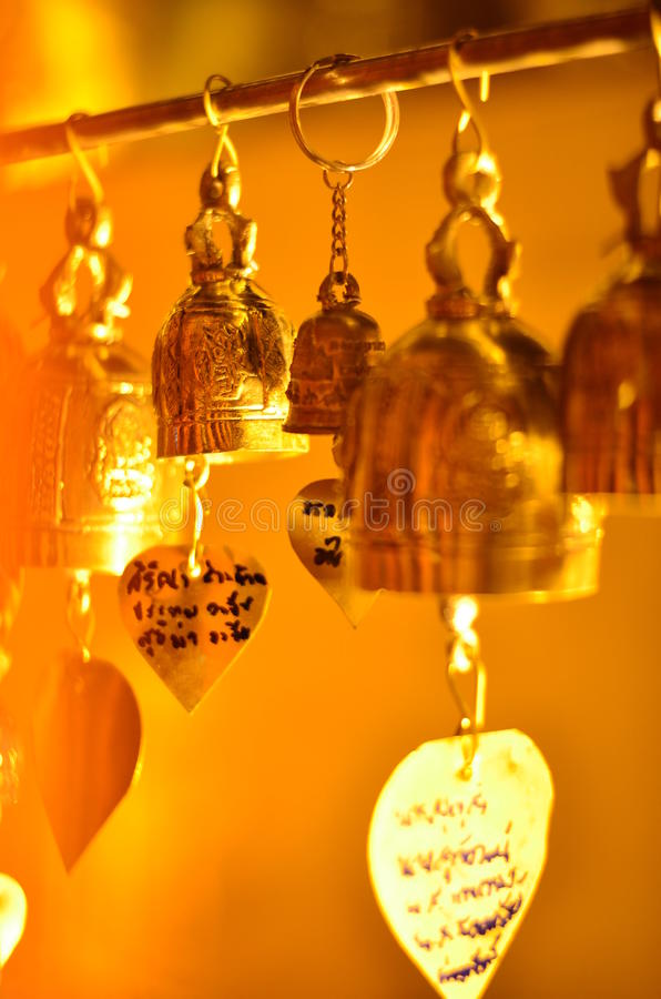 a lot of little bhuddha bell stock photo