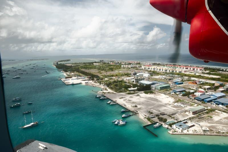 lot, Malediwy z wysokości obrazy royalty free