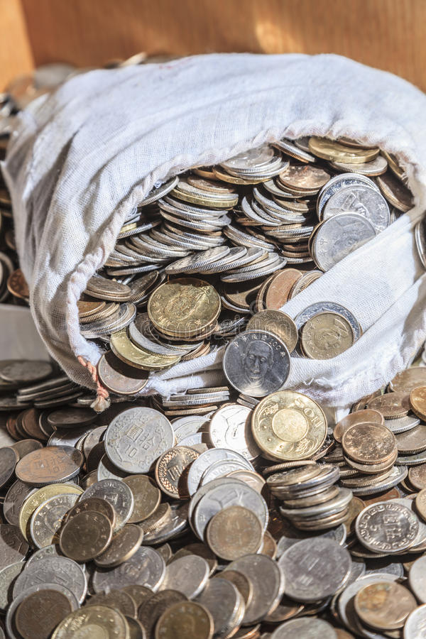 Lot of money in bag stock photo