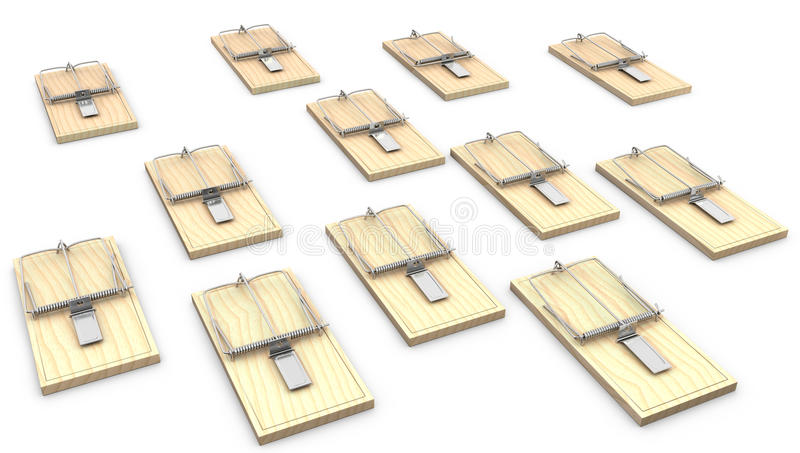 Download A lot of mouse traps stock illustration. Illustration of snapping - 23200038