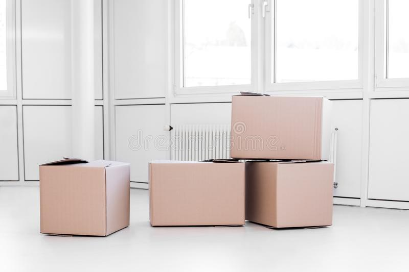 A lot of moving boxes royalty free stock photography