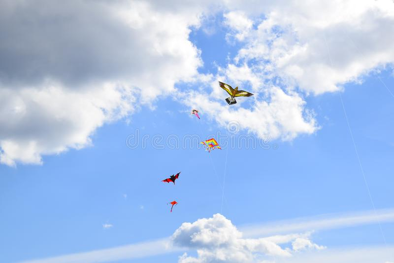 Lot of multi-colored kites in the sky vertical background royalty free stock photography
