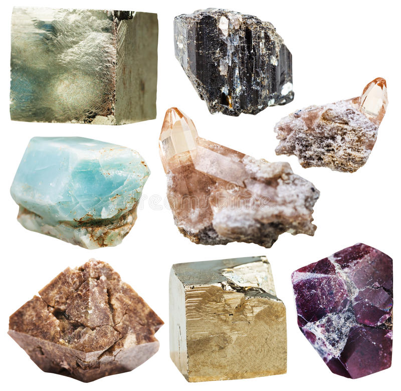 Lot of natural mineral crystal gemstones isolated stock photo