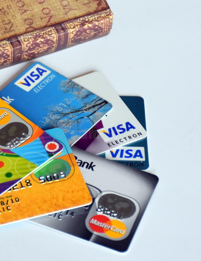 Lot of necessary credit cards stock images
