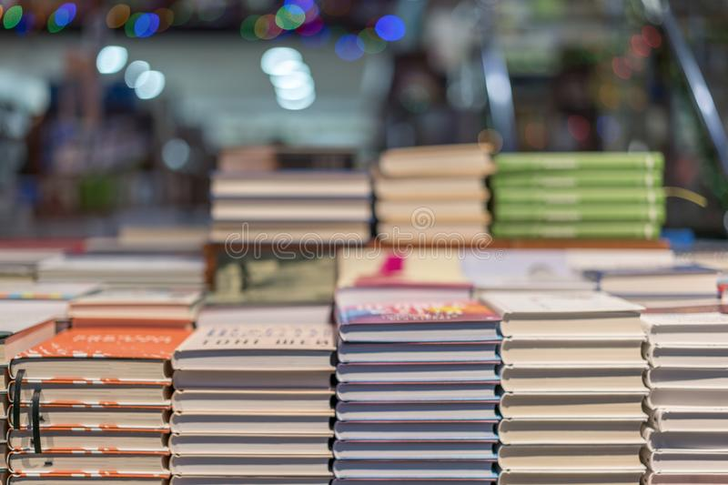 Lot of new books in hardcover.  royalty free stock photo