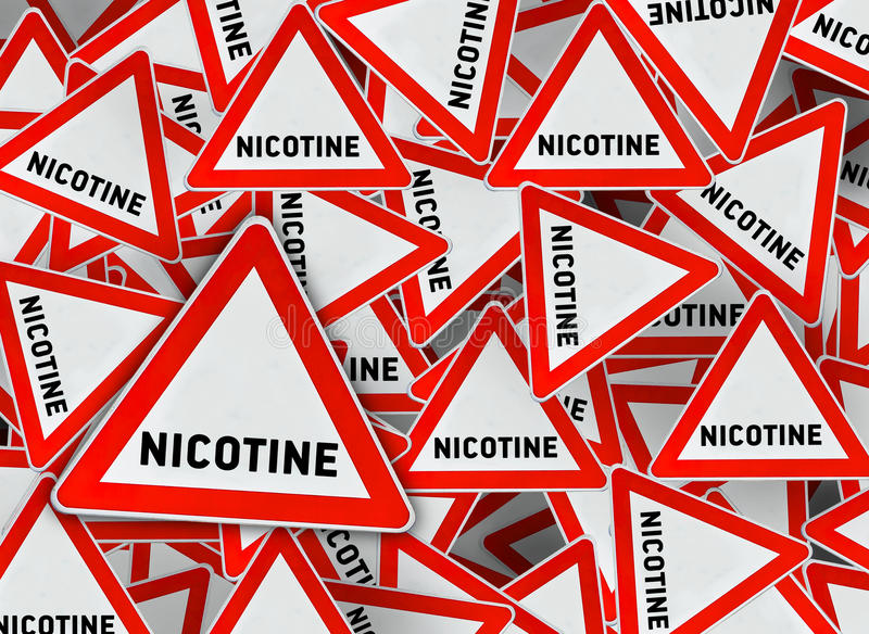 A lot of nicotine triangle road sign. Close royalty free illustration