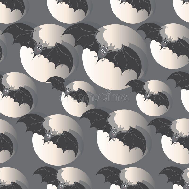 Lot nietoperze w księżyc w pełni szczęśliwego halloween royalty ilustracja